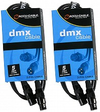 2x American DJ AC3PDMX5 ACCU 5ft Cables (pair)