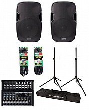 "Gemini AS-15P 15"" Powered Speaker Package w/ Mackie Mix12FX, Cables, & Stands"