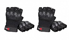 ProX X-GRIPZ Hard Knuckle Fingerless Gloves (2 Pairs)