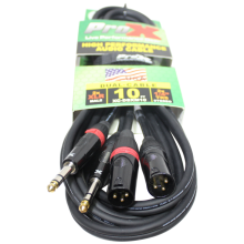 """ProX XC-DSXM10 (10ft 1/4"""" TRS-M to Dual XLR3-M High Performance Cable)"""