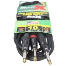 """ProX XC-PYP10 (10ft 1/4"""" TS-M to Dual 1/4"""" TS-M High Performance Cable)"""