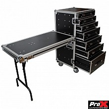 ProX XS-7DTW (7 Drawer Workstation Case W-Folding Lid Side Table on Wheels)